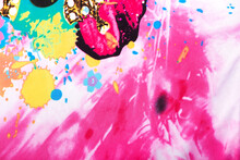 Abstract Bright And Colorful Fabric Texture Seamless Background With Butterfly Summer Motive And Glass Beads