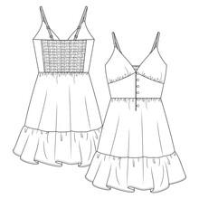 Women V-Neck Spaghetti Straps Peasant Dress Flat Sketch Fashion Template. Girls Technical Fashion Illustration. Button Detail At Front. Back Elastic Smocking Effect.