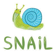 Pink Snail Beautiful Character, Scandinavian Style, Hand Drawn And Signed