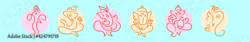 Fotografie, Obraz set of ganesha cartoon icon design template with various models