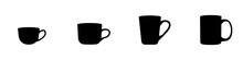 Conjunto De Iconos De Tazas De Diferentes Modelos Y Tamaños. Taza De Café. Silueta