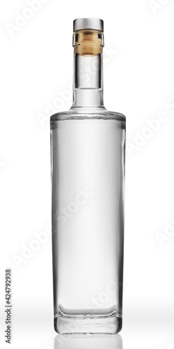 Obraz Bottle of transparent glass, with gin, tequila, rum or vodka, isolated on pure white background. - fototapety do salonu