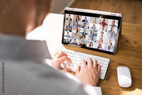 Billede på lærred Virtual Business Presentation Or Videoconferencing