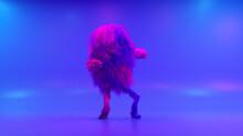 Cheerful Colorful Hairy Cartoon Dancing Character, Furry Animal, Having Fun, Furry Mascot Animation. Modern Minimalist Design. Flashing Neon Club Light. 3d Illustration