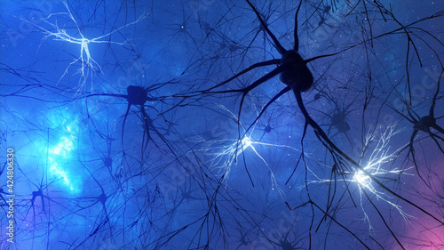 Valokuva 3d illustration of the activity of neurons and synapses