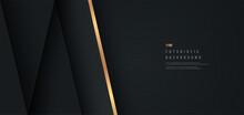Abstract Black Geometric Shape On Dark Metal Background With Golden Diagonal Stripes Line. Design For Presentation, Banner, Cover, Web, Flyer, Card, Poster, Game, Texture, Slide. Vector Illustration