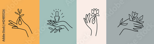 Womans hand collection line hands of different gestures. Lineart for nail studio, posters, cards, tattoo elements