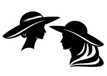 Elegant Woman Wearing Retro Style Wide Brimmed Hat Profile Head - Glamour And Beauty Concept Vector Portrait