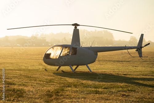 Fotografie, Obraz A light helicopter on a grass landing area
