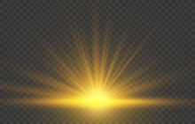 Realistic Sunrise Lighting. Yellow Sun Rays And Glow On Transparent Background. Glowing Light Burst Explosion. Flare Effect Decoration With Ray Sparkles. Vector Illustration