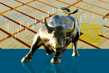 Charging Bull Against The Background Of Gold Bars As A Financial And Economic Concept. 3d Rendering