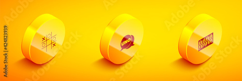 Платно Set Isometric Tic tac toe game, Uno card and Board icon. Vector