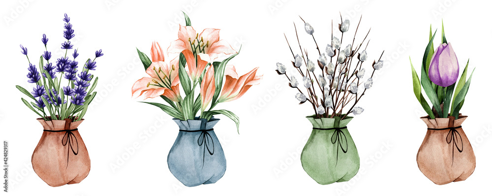 Fototapeta Set of watercolor plants. Spring flowers in a pot. Lavender, lily, tulip. Suitable for stickers, postcards, etc