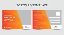 Electrician Services Postcard, Electrical Postcard Template