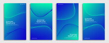 Set Of Blue Banner Template. Abstract Gradient Blue Color With Wavy Lines For Banner, Posters, And Wallpaper. Eps 10 Vector Template
