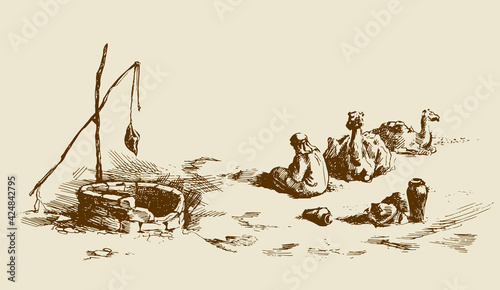 Tableau sur Toile Man and camels at withered well in desert. Vector drawing