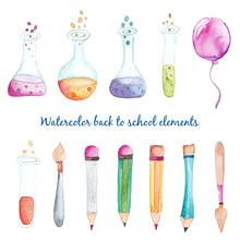 Watercolor Back To School Elements