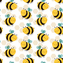 Cute Bee Cartoon Funny Seamless Pattern