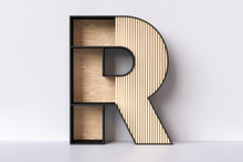 Wooden Letter R Japandi Aesthetic Style. Ideal For The Background Of An Interior Design Website Or Blog Or Also As A Showcase For The Presentation Of Decorative Products. 3D Rendering.