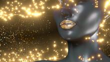 Golden Lipstick Closeup. Gold Metal Lips. Beautiful Makeup. Sexy Lips, Bright Lip Gloss Paint On Beauty African Model Girl's Mouth
