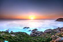 Puesta De Sol Vista Desde La Costa De Ferrol