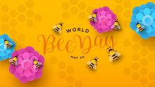 World Bee Day Paper Cut Flower Spring Banner