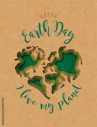 Obraz Earth Day paper cut 3D heart shape map card - fototapety do salonu