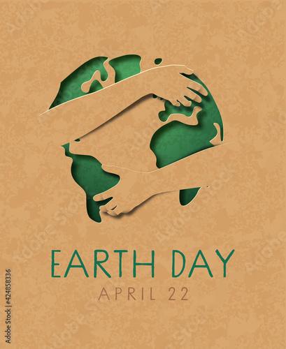 Obraz Earth day paper cut world map hug green card - fototapety do salonu