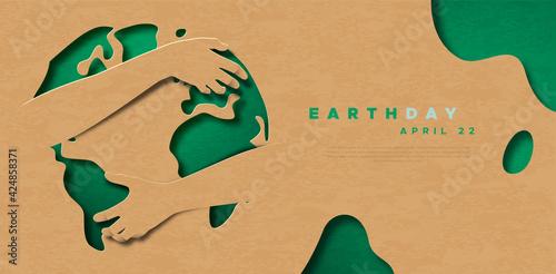Obraz Earth Day green world map hug paper cut template - fototapety do salonu