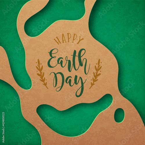 Obraz Earth Day green paper cut april 22 cutout card - fototapety do salonu