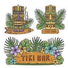 Design Of Trendy Hawaii Wooden Tiki Mask For Surfing Bar. Traditional Ethnic Idol And Hawaiian Surf, Maori Or Polynesian. Old Tribal Totem