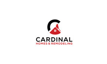 Cardinal Bird House Letter C Home Roof Mortgage Logo Vector Icon Illustration