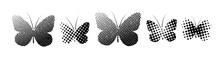 Butterflies From The Dots. Monochron Abstraction. Vector Illustration