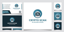 Modern Crypt Scanning Technology Logo And Business Card Design Template.