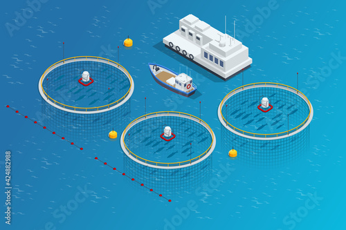 Isometric Fish industry seafood concept. Commercial fishing. Sea fishing, ship marine industry, fish boat.