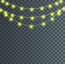 Garland String Lights Isolated Christmas Glowing Lights