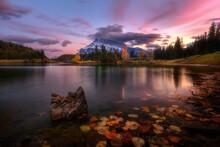 Autumn Evening At Two Jack Lake, Banff, Canadian Rockies, Alberta, Canada
