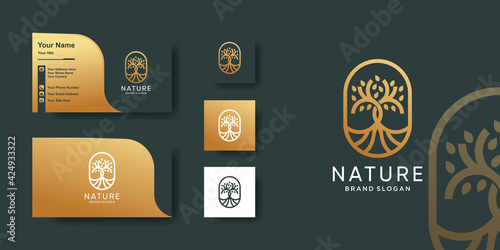 Obraz na plátne Nature logo template with creative golden line art concept and business card des