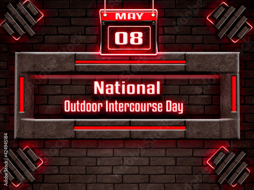 Canvas 08 May, National Outdoor Intercourse Day, Neon Text Effect on Bricks Background