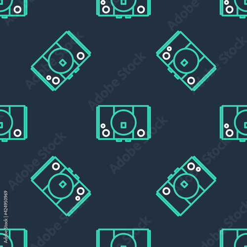 line-video-game-console-icon-isolated-seamless-pattern-on-black-background-vector