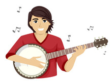 Teen Guy Play Banjo Music Notes Illustration