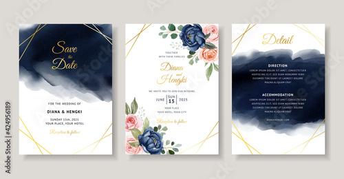 Elegant navy floral watercolor invitation card template Wallpaper Mural