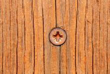 Flat Head Phillips Head Screw In Wood