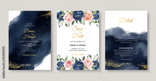 Photo Elegant navy floral watercolor invitation card template