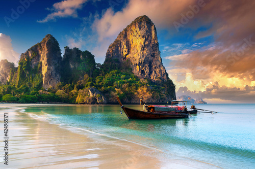 Fotografering Railay beach at sunrise in Krabi, Thailand.