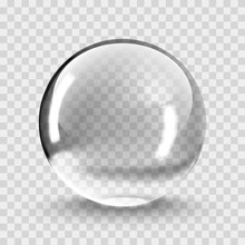 Crystal Ball Light Vector On Transparent Background. Clear Sphere Transparent Ball. Bubble Clear EPS 10.