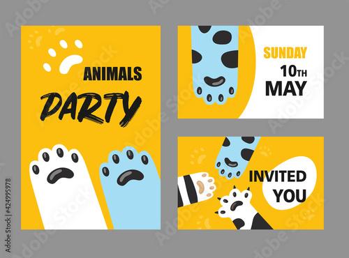 Fototapeta Animals party invitation cards set obraz