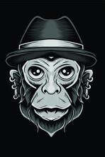 Scary Monkey Head Vector Design