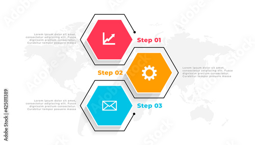 Fotografía three steps hexagonal infographic template design