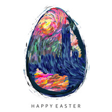 A Vector Illustration Of A Single Easter Egg In Post-impressionism Style On An Isolated White Background